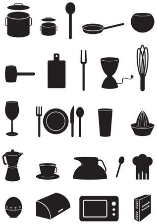 Kitchen icons set, black silhouettes, on white background Stock Illustratie