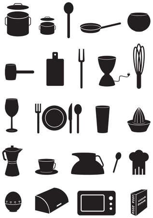 Kitchen icons set, black silhouettes, on white background Ilustrace