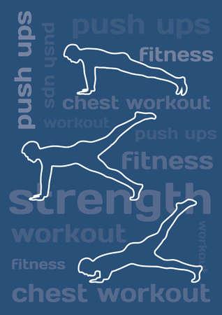 Les silhouettes de l'homme faisant push ups sur fond bleu conceptuel Banque d'images - 28522140