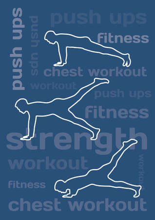 push up: The silhouettes of man doing push ups on blue conceptual background