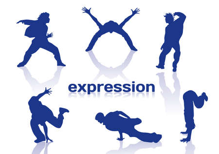 Break dance silhouettes on white background Stock Illustratie