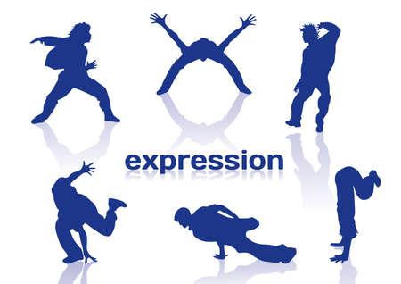 Break dance silhouettes on white background Ilustrace