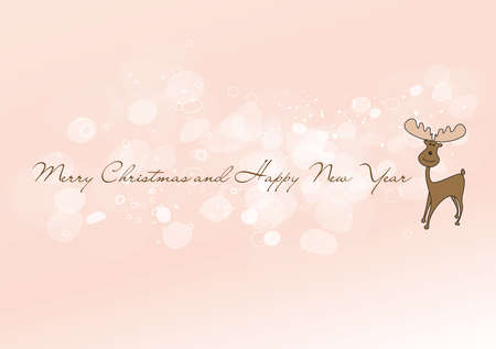 Pink glittering Merry Christmas background with moose