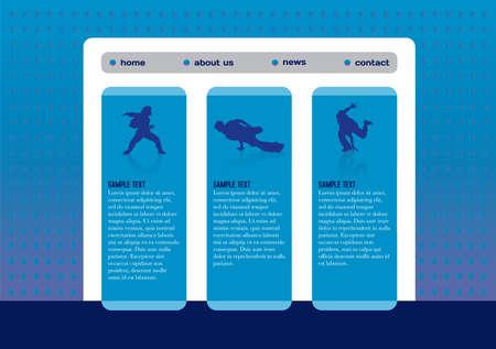 Website template with break dance Stock Illustratie