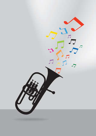 Trumpet silhouette in colorful musical concept on gray background Stock Illustratie