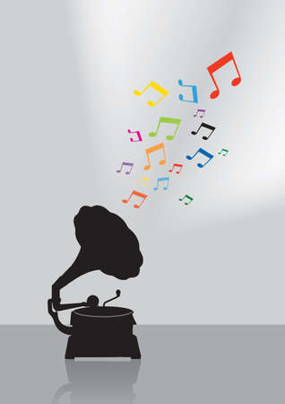 Vintage gramophone silhouette in colorful musical concept on the gray background Vector
