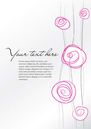 Fond rose floral abstrait et éléments gris Banque d'images - 29125767