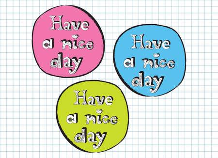 Have A Nice signes de griffonnage de jour rose, bleu et vert, vecteur Banque d'images - 29125768