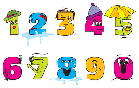 Happy colorful numbers from zero to nine with funny faces for the children Stock Illustratie