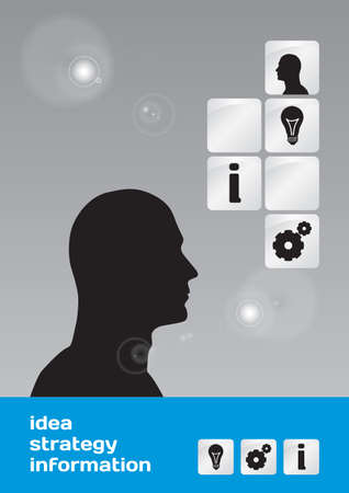 Business concept  idea, strategy and information with male head silhouette - vector
