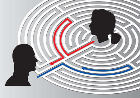 Male and female head silhouette with labyrinth on gray background