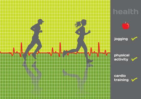 Concept  cardiogram and a physical activity exam, jogging