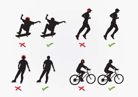 Concept of recreation  skateboarding, jogging, roller skating, cycling  and wearing a headphones
