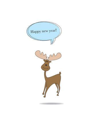 Noël Moose Deer souhaite une bonne et heureuse année Banque d'images - 29410071