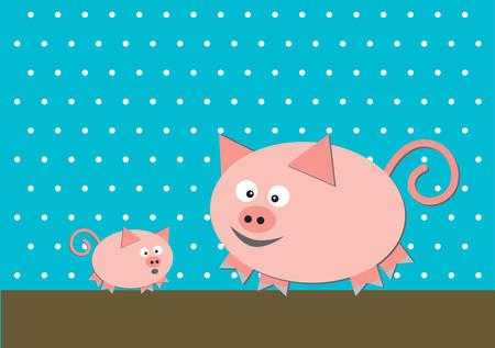 Deux porcs drôles sur fond turquoise Banque d'images - 29410073