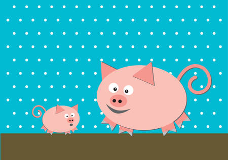 workpiece: Two funny pigs on turquoise background Illustration