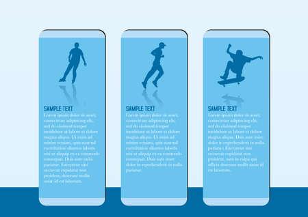 The recreation brochure template skateboarding, jogging, roller skating  Vector