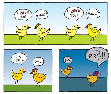 Deux poulet ayant amour conversation dans le style bande dessinée Banque d'images - 29410093