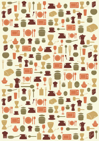Background with various kitchen symbols in various colours Stock Illustratie