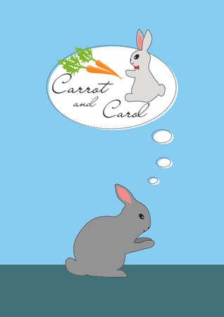 Lapin réflexion sur la carotte et fille Carol Banque d'images - 29415366