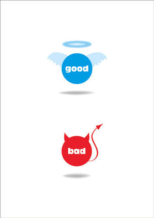 good and bad: angel and devil symbol; good and bad