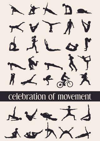 Celebración de movimiento en 35 siluetas humanas en varios movimientos Foto de archivo - 29415369