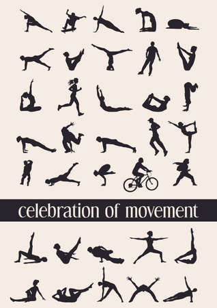 Celebration of movement in 35 human silhouettes in various moves