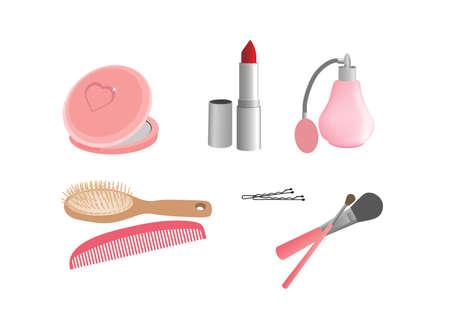 glowing skin: Conjunto de accesorios de las mujeres; espejo, l�piz labial, perfume, cepillo para el cabello ...