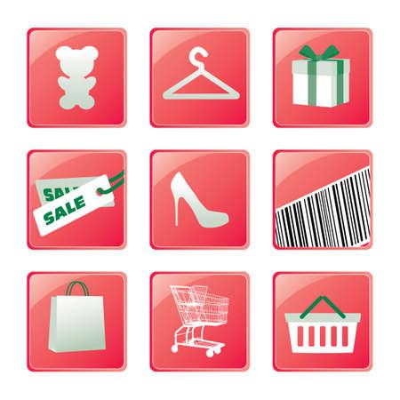 Shopping icons set Stock Illustratie