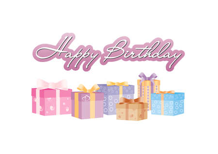 Happy birthday sign with giftboxes