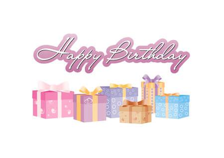 Signe d'anniversaire heureux avec giftboxes Banque d'images - 35016434