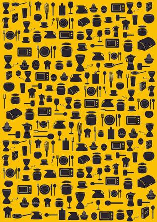 Background with various kitchen black symbols on yellow background Stock Illustratie