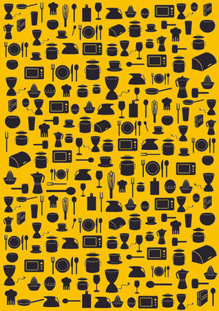Arrière-plan avec cuisine divers symboles noirs sur fond jaune Banque d'images - 35016436