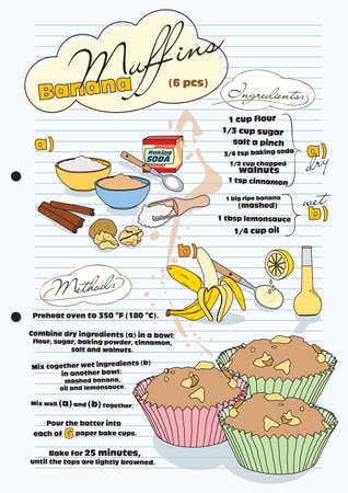 bake: Banana muffin recipe with pictures of ingredients - retro, vector