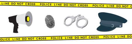 police equipment: Police equipment: megaphone, handcuffs, hat and fingerprint