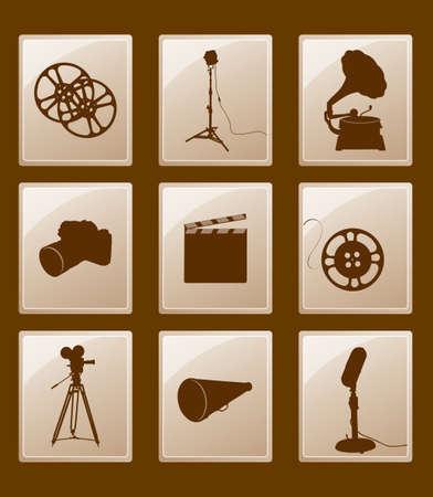 Ensemble d'icônes avec des silhouettes; phonographe, réflecteur, film, caméra, microphone, mégaphone ... Banque d'images - 35016552