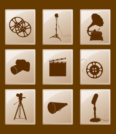 Set of icons with silhouettes; gramophone, reflector, film, camera, microphone, megaphone...