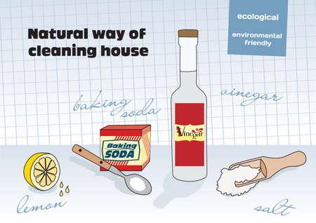 cleaning the house: Natural way of cleaning house; vinegar, lemon, salt, baking soda Illustration
