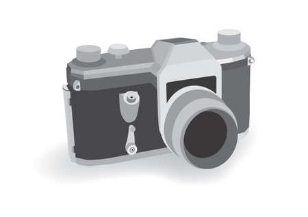 Old retro analog camera on white background; vector