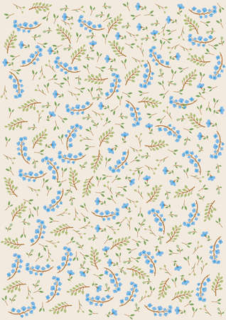 Decorative blue, beige and green floral background Stock Illustratie