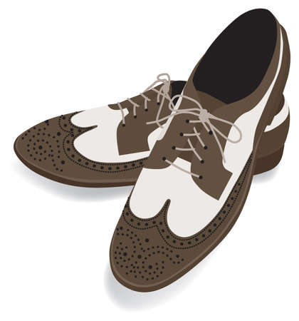 Wingtip shoes  brown for man isolated on white background Ilustração