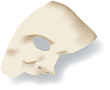 alter: White phantom of the opera half face mask isolated on white background Illustration