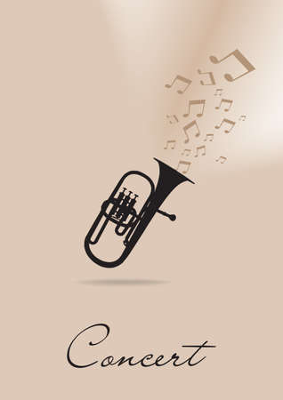 concert poster: Template for the concert poster with trumpet