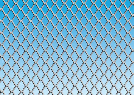 chain link fence: Chain link fence with blue sky background; vector