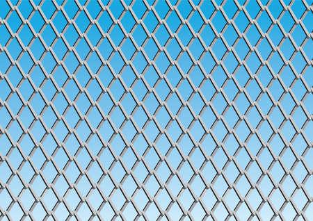 Ketting link hek met blauwe hemel achtergrond; vector Stockfoto - 44327271