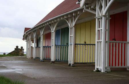 Row of colourful beach houses