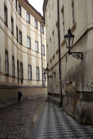 Walking down street in Prague