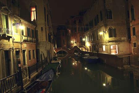 Venice Canal at night Stock Photo