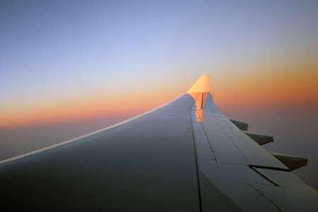 Sunrise over aeroplane wing Stock Photo - 1341850