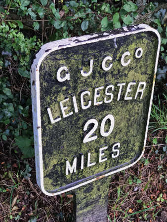 Sign- 20 miles to Leicester